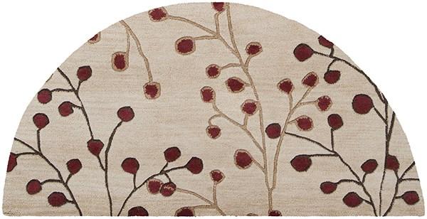 Camel, Dark Brown, Burgundy Floral / Botanical Area Rug