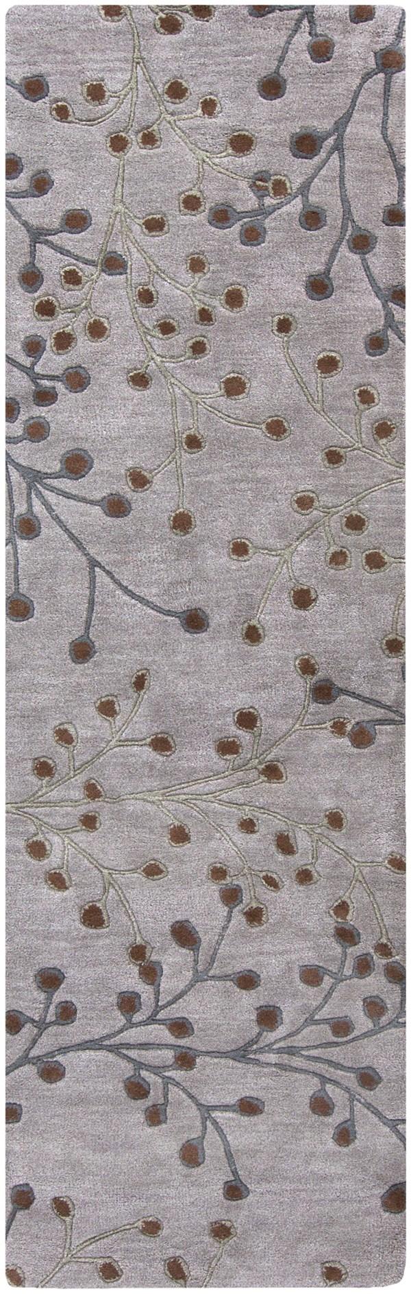 Medium Gray, Gray, Dark Brown Floral / Botanical Area Rug