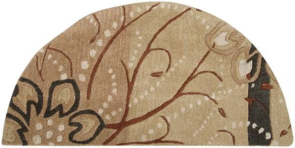 Camel, Khaki, Tan, Dark Brown Floral / Botanical Area Rug