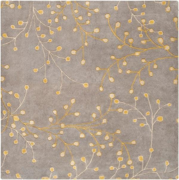 Taupe, Medium Gray, Mustard Floral / Botanical Area Rug