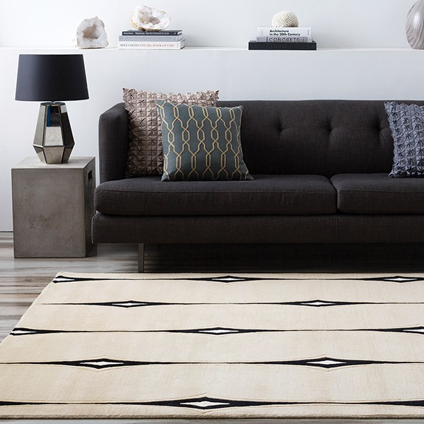 Ivory, Beige, Black, White Contemporary / Modern Area Rug