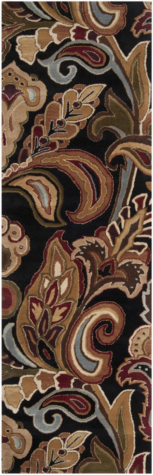 Black, Beige Paisley Area Rug