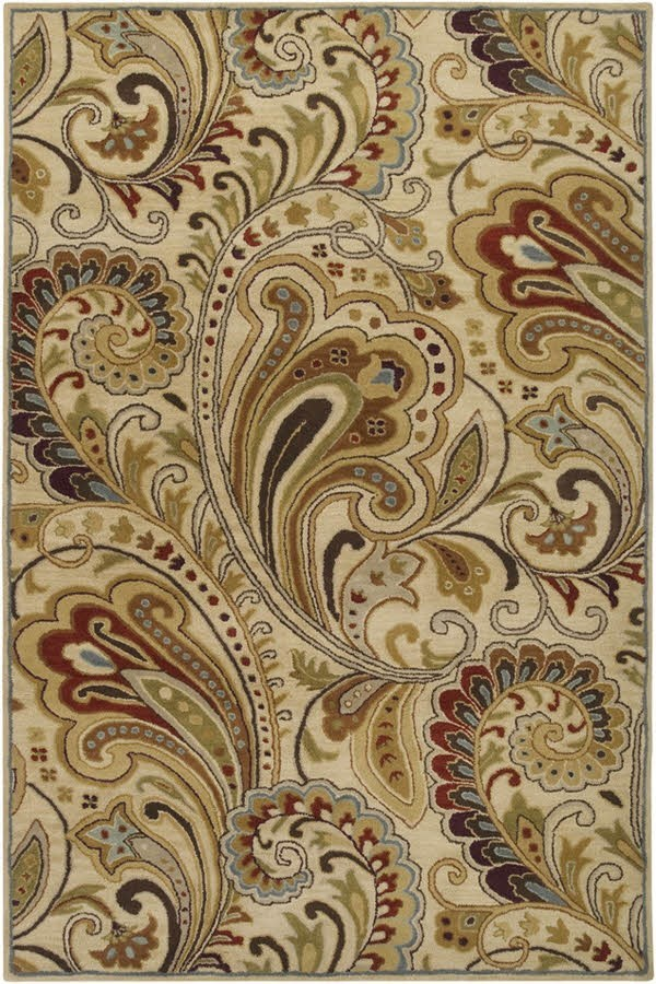 Ivory, Red Paisley Area Rug