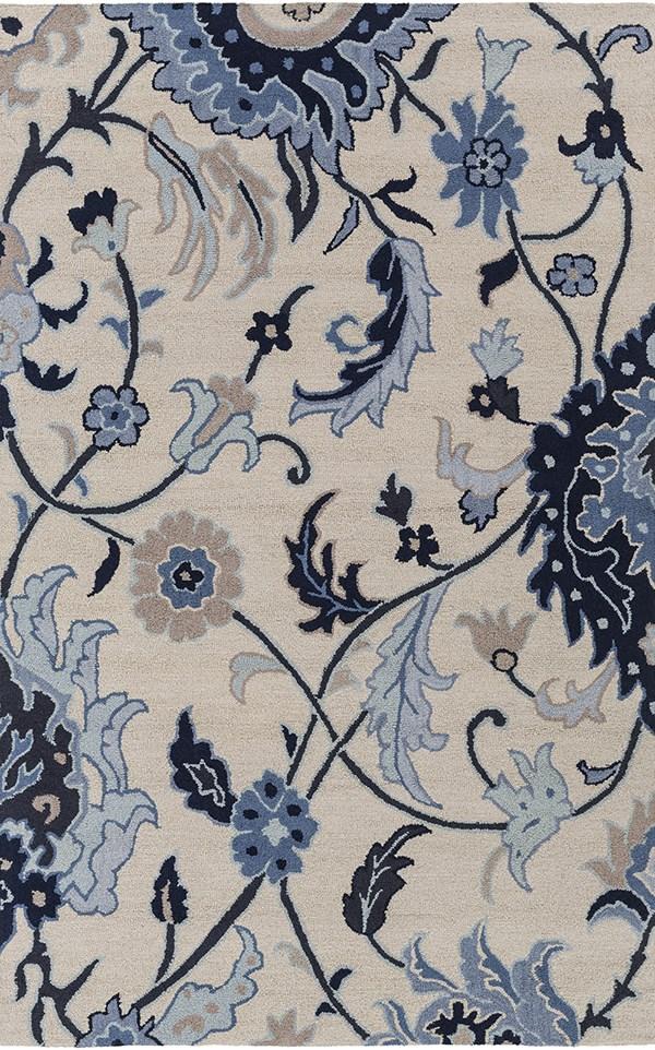 Khaki, Black, Dark Blue, Taupe Floral / Botanical Area Rug