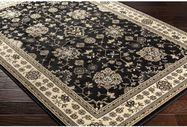 Black, Beige, Dark Brown, Pale Blue, Tan Traditional / Oriental Area Rug