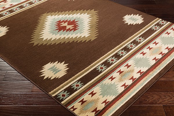 Dark Brown, Red, Sage Southwestern / Lodge Area Rug
