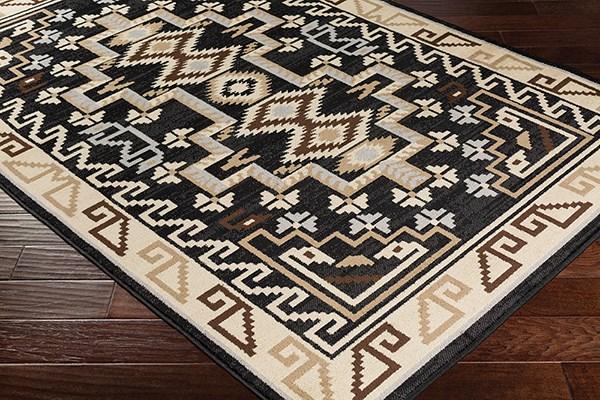 Black, Medium Grey, Khaki Southwestern / Lodge Area Rug