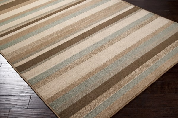 Lily Pad Green, Raw Umber Striped Area Rug