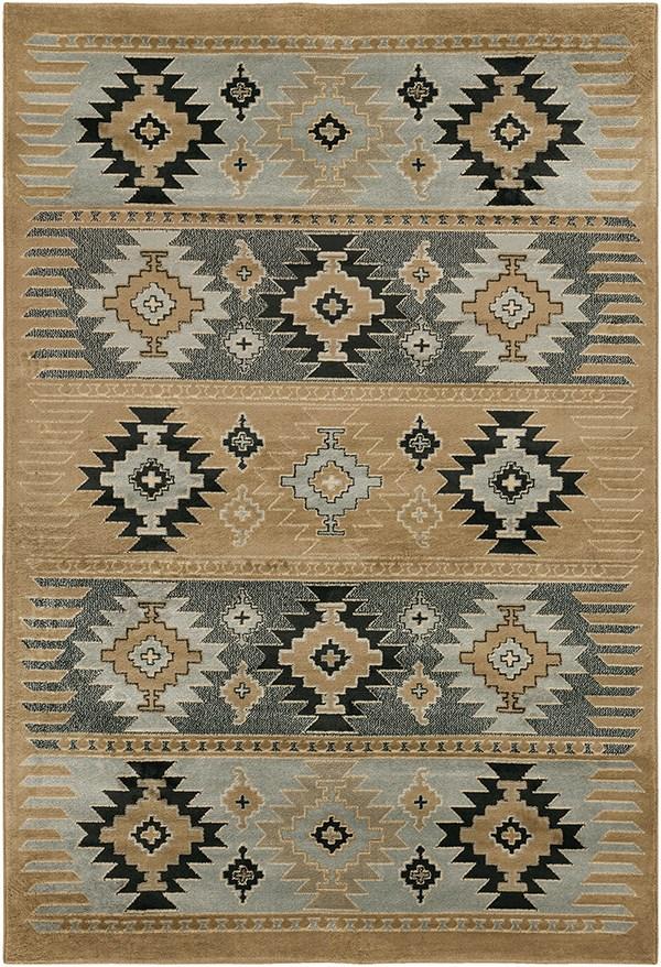 Safari Tan, Charcoal Gray, Light Gray Southwestern / Lodge Area Rug