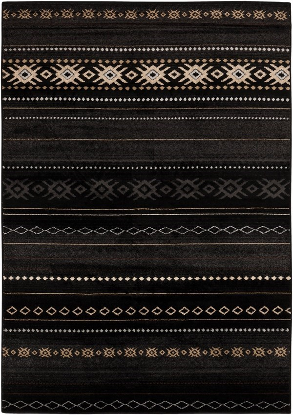 Coal Black, Pewter, Safari Tan Southwestern / Lodge Area Rug