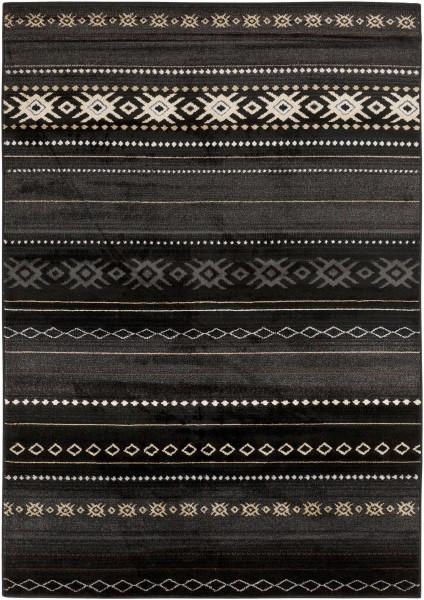 Coal Black, Pewter, Safari Tan Southwestern Area Rug