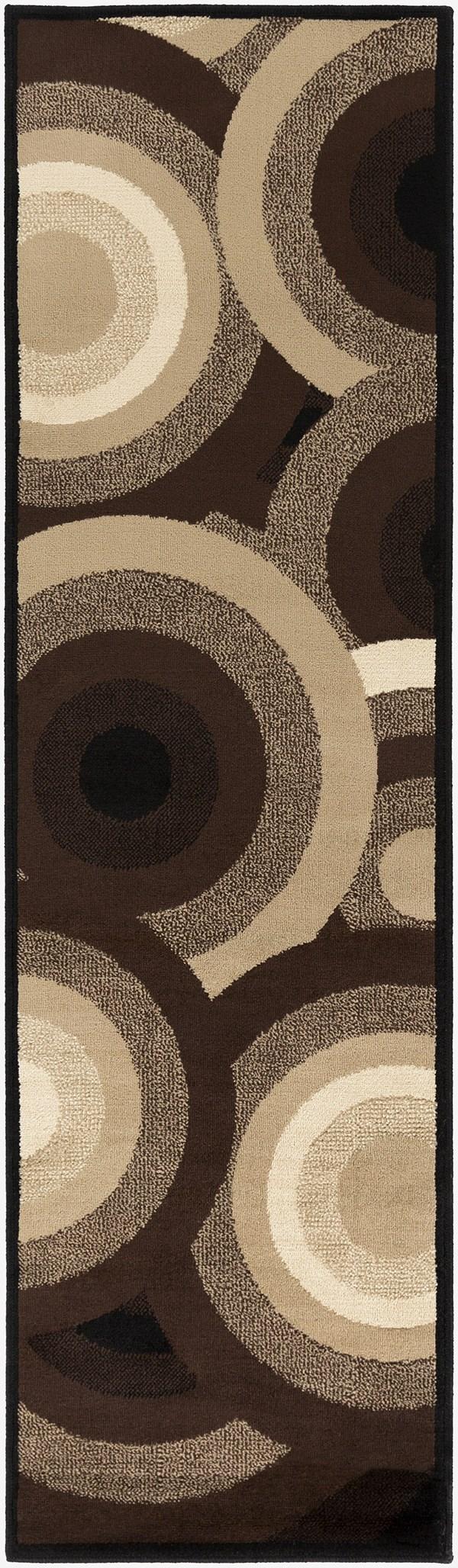 Coal Black, Barley, Brown Contemporary / Modern Area Rug