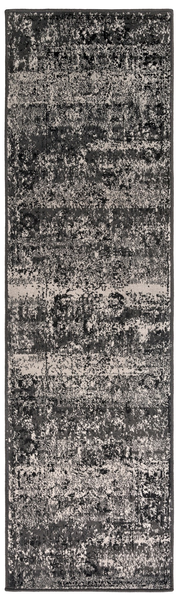 Black, Light Gray Vintage / Overdyed Area Rug