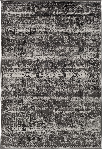 Black, Light Gray Vintage / Overdyed Area Rug