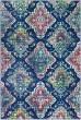 Product Image of Dark Blue, Fuchsia, Bright Orange Damask Area Rug