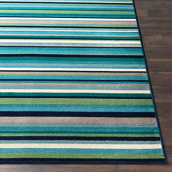 Teal, Aqua, Lime, Dark Blue  Striped Area Rug