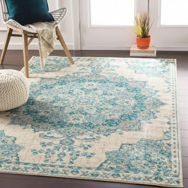 Teal, Aqua, Light Gray, Cream  Mandala Area Rug