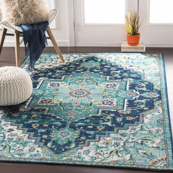 Teal, Dark Blue, Aqua Traditional / Oriental Area Rug