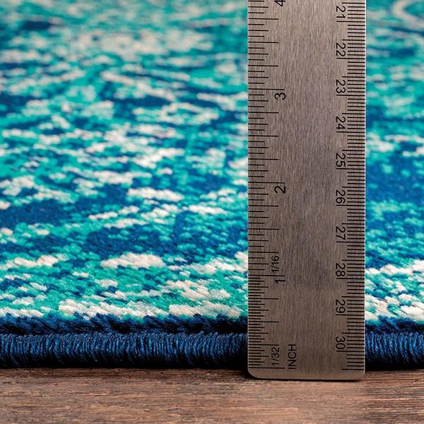Teal, Dark Blue, Aqua Vintage / Overdyed Area Rug