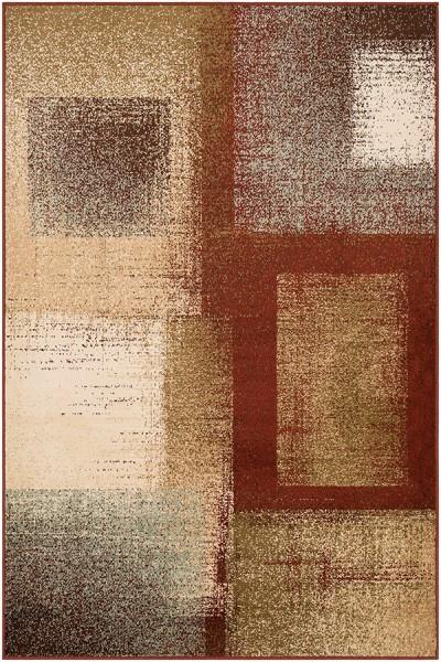 Dark Red, Dark Brown, Sage Contemporary / Modern Area Rug
