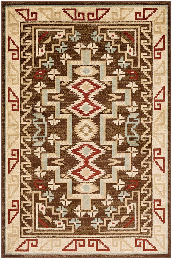 Dark Red, Dark Brown, Sage Southwestern / Lodge Area Rug
