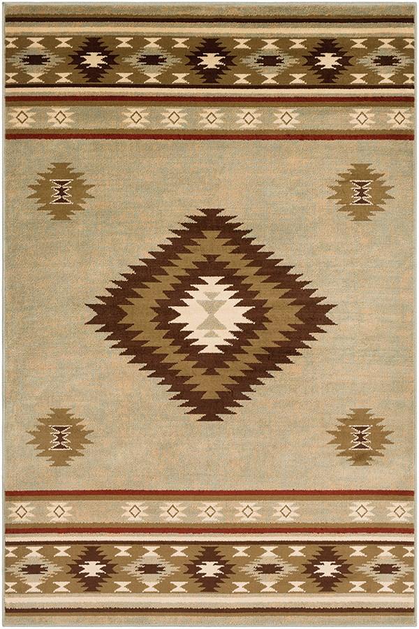 Khaki, Sage, Dark Brown Southwestern / Lodge Area Rug