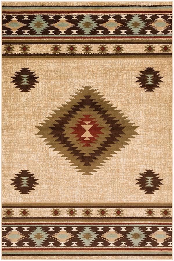 Khaki, Dark Brown, Red Southwestern / Lodge Area Rug