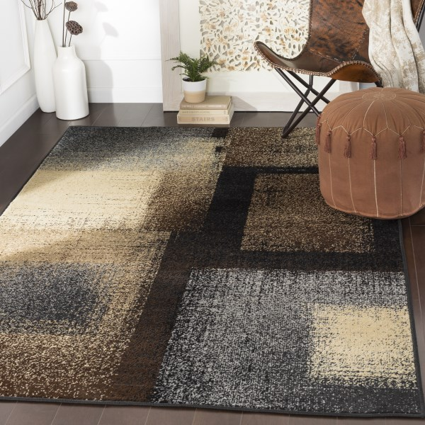 Charcoal, Grey, Beige, Contemporary / Modern Area Rug