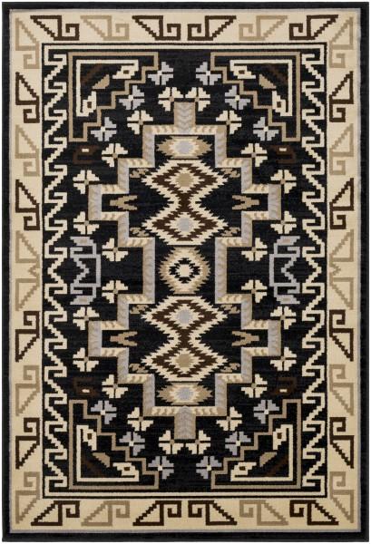 Black, Medium Grey, Khaki Southwestern Area Rug