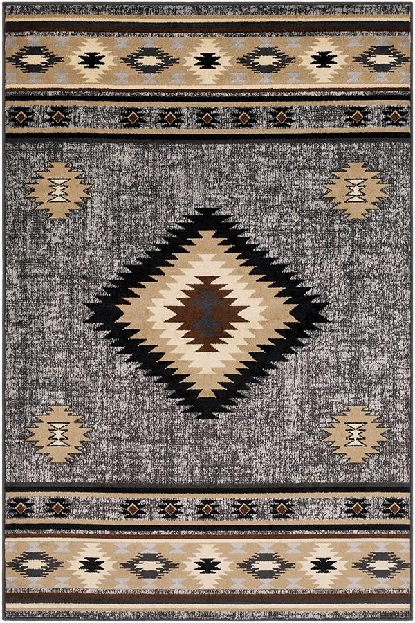 Grey, Black, Beige Southwestern / Lodge Area Rug