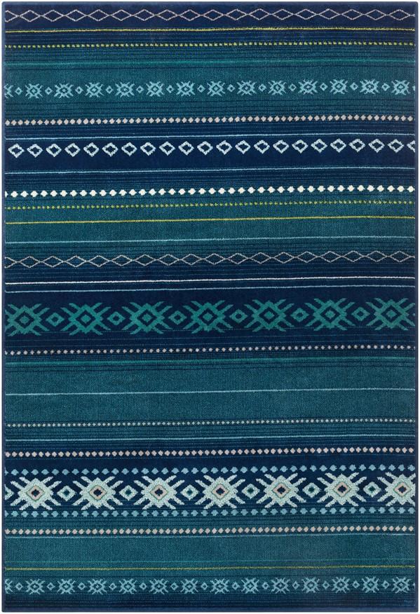 Dark Blue, Aqua, Teal (PRG-1120) Southwestern / Lodge Area Rug