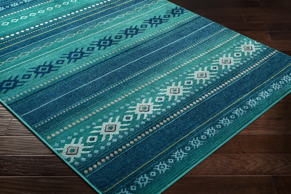 Teal, Dark Blue, Aqua (PRG-1119) Southwestern / Lodge Area Rug