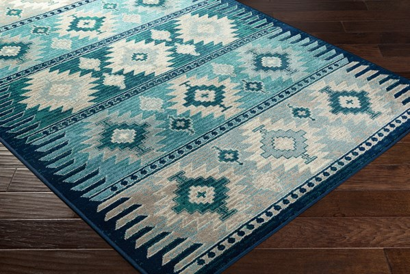 Dark Blue, Aqua, Teal (PRG-1122) Southwestern / Lodge Area Rug