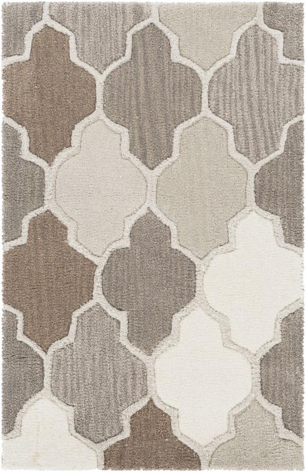 Camel, Taupe, Light Gray, Dark Brown, Cream Transitional Area Rug
