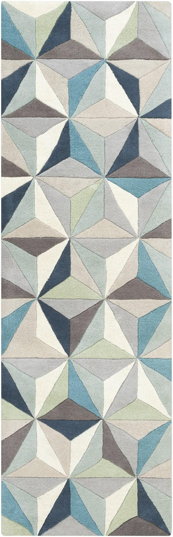 Sky Blue, Medium Gray, Sage, Charcoal, Beige Contemporary / Modern Area Rug
