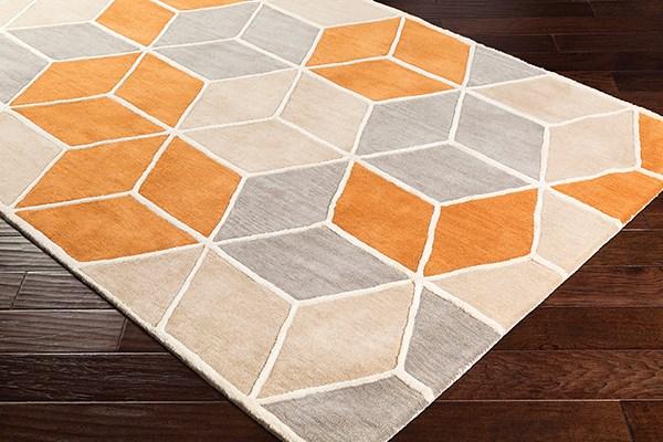 Burnt Orange, Khaki, Medium Gray Geometric Area Rug