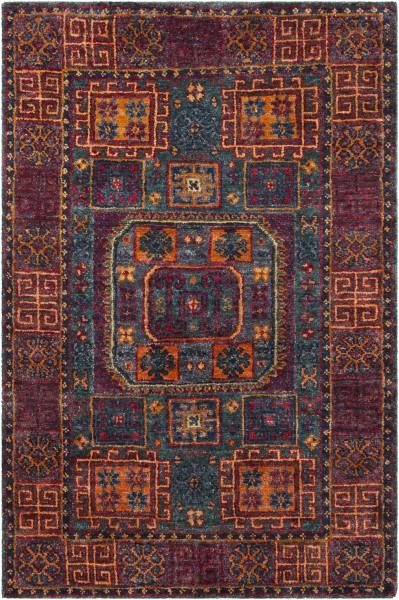 Dark Red, Burnt Orange, Dark Green, Saffron, Navy Traditional / Oriental Area Rug