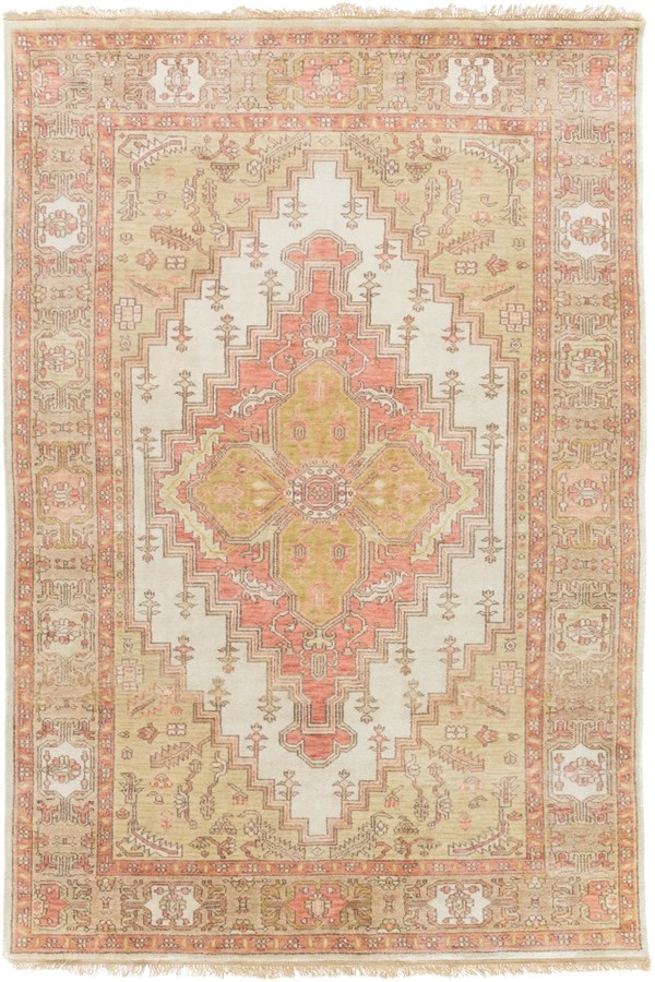 Rose, Mauve, Ivory, Tan, Light Gray, White Traditional / Oriental Area Rug