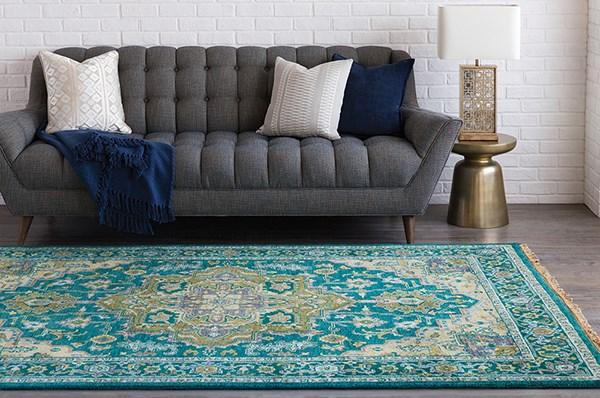 Teal, Khaki, Dark Blue, Aqua, Ivory Traditional / Oriental Area Rug