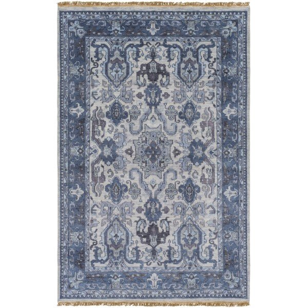 Ivory, Navy, Charcoal, Black, Light Gray Traditional / Oriental Area Rug