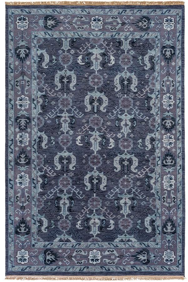 Navy, Dark Purple, Aqua, Pale Blue Traditional / Oriental Area Rug