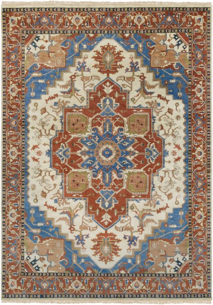 Camel, Burnt Orange, Sky Blue Traditional / Oriental Area Rug