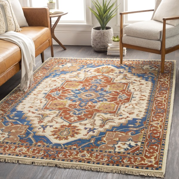 Camel, Burnt Orange, Sky Blue Traditional / Oriental Area Rug