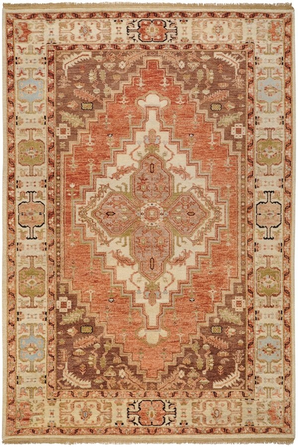 Rust, Butter, Mauve, Navy, Olive, Coral Traditional / Oriental Area Rug