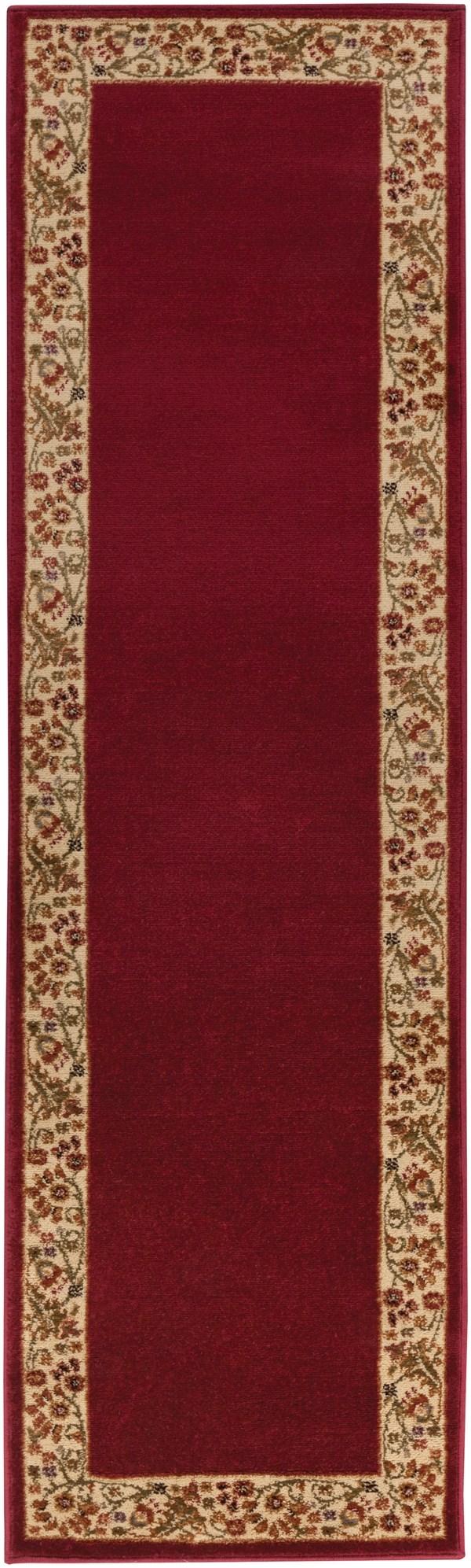 Dark Red, Wheat, Camel, Dark Brown Bordered Area Rug