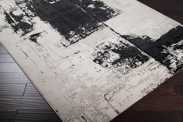 Black, Light Gray, Off White Contemporary / Modern Area Rug