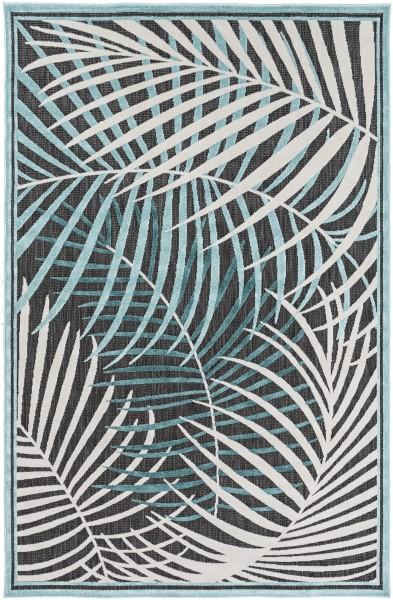 Teal, Aqua, Ivory, Black (PRT-1062) Outdoor / Indoor Area Rug