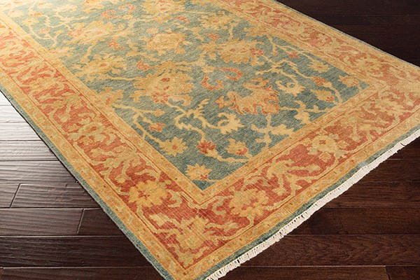 Teal, Rust, Gold, Lime Traditional / Oriental Area Rug