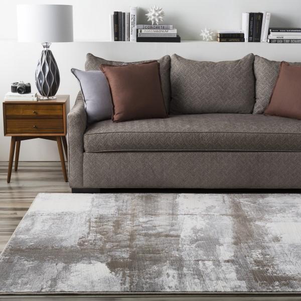 Gray, White, Brown   Contemporary / Modern Area Rug
