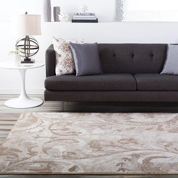 Beige, Cream, Brown Contemporary / Modern Area Rug